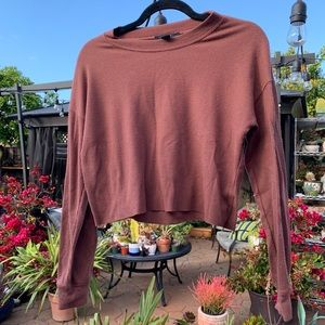 FOREVER 21 RUSTY PINK LONG SLEEVE CROP TOP